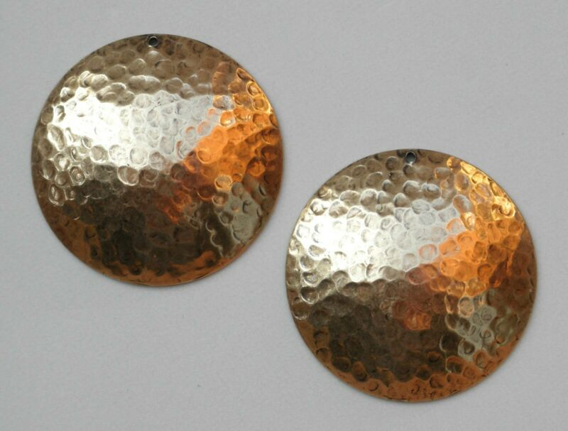 #4217 ANTIQUED GOLD HAMMERED ROUND PENDANT/ER DROP W/HANG HOLE - 2 Pc Lot