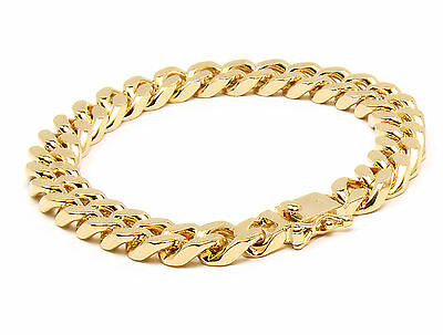 Mens 10mm 14k Gold Plated Heavy Thick Cut Hip Hop Bracelet Cuban