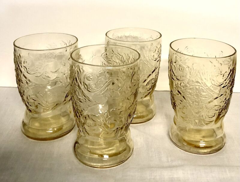 Set 4 Drinking Glasses Depression Federal Glass Yellow Amber MADRID Pattern  VGC