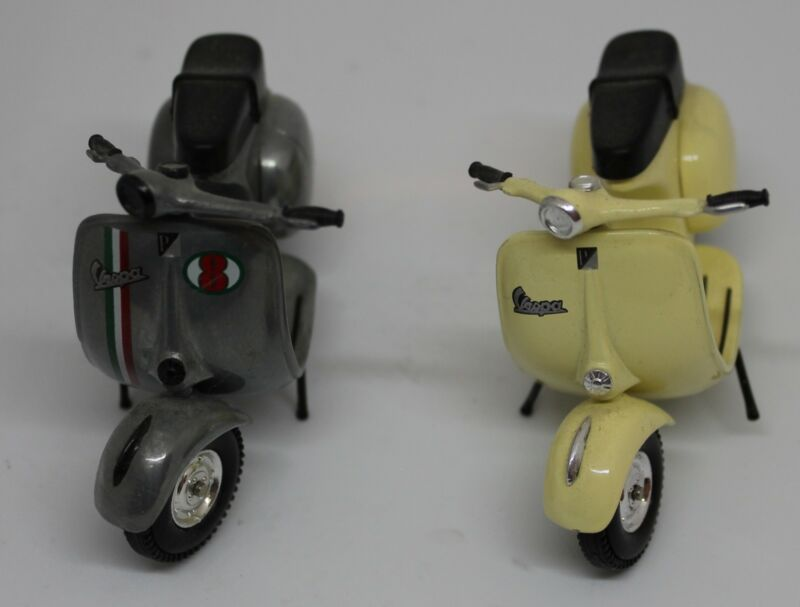 Vespa Scooter Models, Set of 2 Ivory and Charcoal