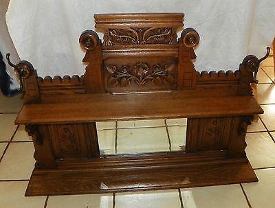 Quartersawn Oak Carved Hall Tree Shelf with Mirror  (MR53)