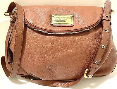Marc by Marc Jacobs Classic Q Natasha Large Pebbled Brown Leather Crossbody Bag