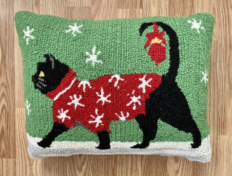 Folk Art WOOL hooked rug pillow COVER Christmas CAT
