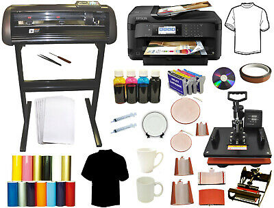 28 1000g Metal Vinyl Plotter Cutter 8in1 Combo Heat Press Wireless Large Printer