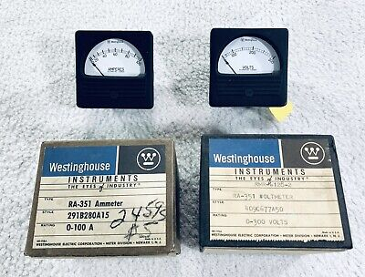 Vintage Westinghouse Electrical Panel Meter Gauge Volts Amperes 60s 70s Lot Of 2
