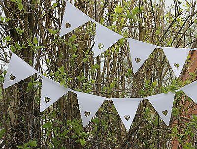 White Heart Bunting Banner Garland Wedding Party Christening Decoration