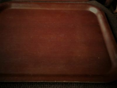 VINTAGE WOOD PLY VENEER TRAY DEEP RICH COLOUR NEVILLE UK USEFUL SIZE 14.5
