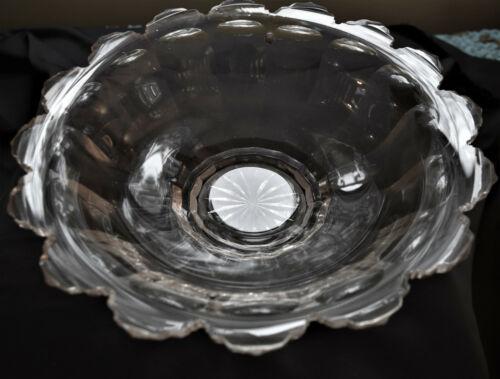 Victorian Large Cut Glass Bowl Plain Heavy Flutes Wide Panels Antique