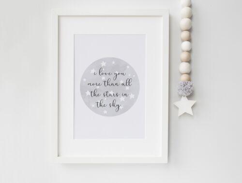 Love You Moon Stars (Grey) - Nursery Print - Baby Room - Wall Art - Kids Bedroom