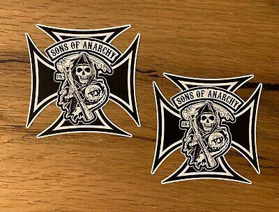2x SOA Cross Aufkleber Sons of Anarchy Samcro Biker Skull MC Oldschool...