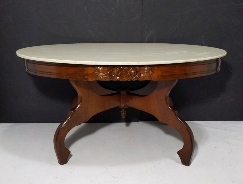 Vintage Antique Carved Rose Mahogany Wood Faux Marble Parlor Tea Table Victorian