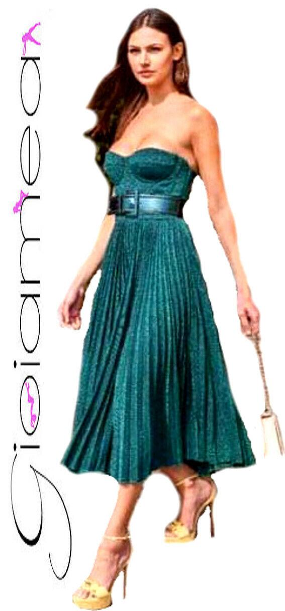 Vestito Donna Particolare Sexy Plissettato Bustino Cerimonia Elegante Casual NEW