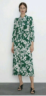 Zara Green Floral Print Shirt Dress NWT Size M