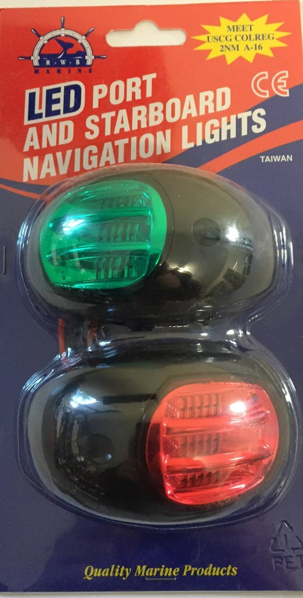 Navigation Lights 12 Volt LED Boat Port & Starboard Black Approved to 20 Metres