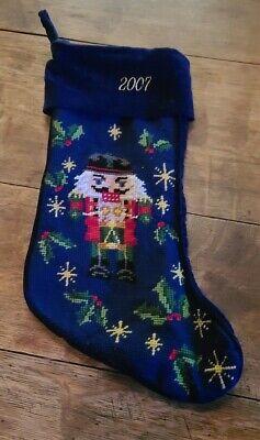 "Vintage Lillian Vernon Wool Needlepoint Christmas Stocking Nutcracker 2007 17"""