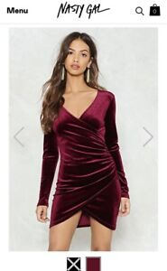 Red velvet wrap dress BRAND NEW Nasty Gal