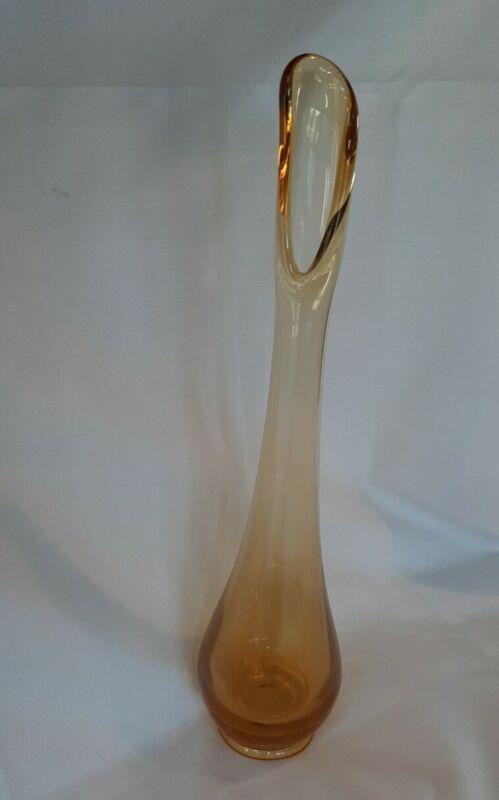 "Mid Century Amber Swung Art Glass Bud Stretch Vase 10.5"" MCM"