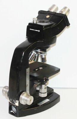 Vintage Bausch Lomb Stereo Binocular Microscope 3 Objectives Black B