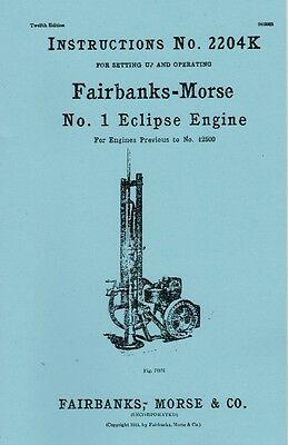 Fairbanks Morse No. 1 Eclipse Gas Engine Motor Instruction Manual 2204K