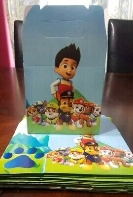 10 Paw Patrol Party Favor Boxes Loot Bags Candy Goody Bags Party Supplies - Paw Patrol Party Supplies