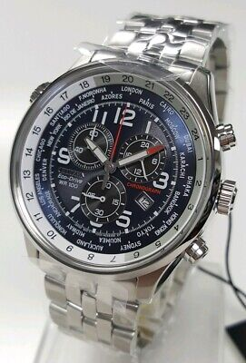 Citizen Eco-Drive AT0361-57L Men's 43mm S/Steel BLUE DIAL Chronograph Watch NWT