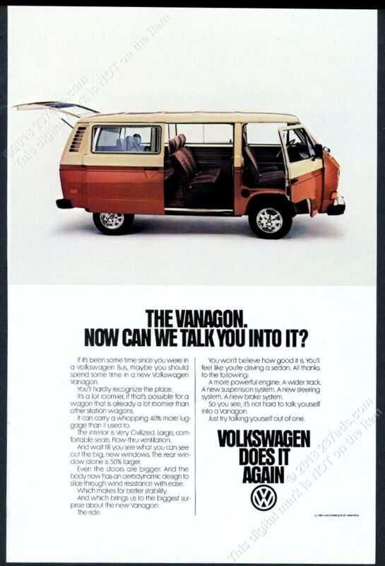1981 VW Vanagon photo vintage Volkswagen print ad
