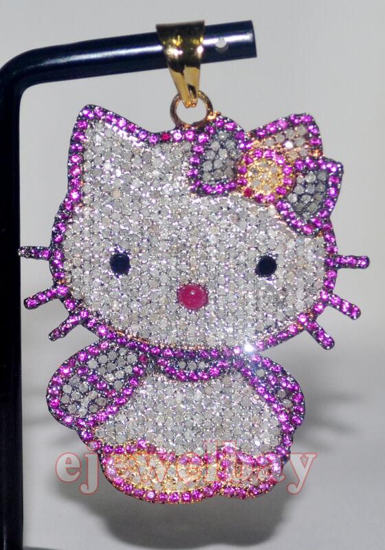 Hello Kitty 7.34ct SINGLE CUT DIAMOND GEMSTONE  925 SILVER ANNIVERSARY PENDANT