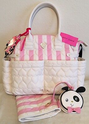 Betsey Johnson Downtown Diamond Quilted Pink Baby Diaper Bag Weekender Tote NWT