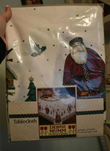 Debbie Mumm Christmas Tablecloths 60 x 84 OVAL old time  Santa