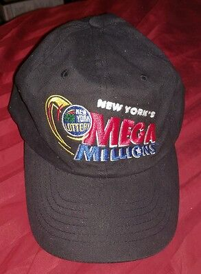 Vintage New York Lottery Mega Millions Adjustible Strap Hat Cap Ny State Rare
