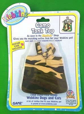 Webkinz Clothes Camo Tank Top Cat Dog Fits Any Pet New Sealed Code