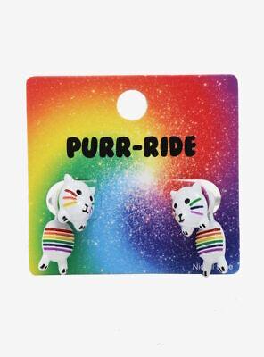 Cat Rainbow Striped Pride Purr-Ride Front Back Earrings Back Cat Earrings