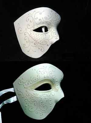 PHANTOM OF THE OPERA VENETIAN MASQUERADE COSTUME HALF MASK WHITE GLITTER PLAIN - Masquerade Masks Plain