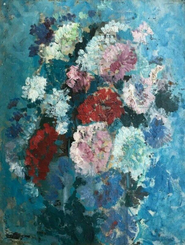 Paul SCORTESCO (1895-1976) Huile/p Bouquet de fleurs 35 X 27cm