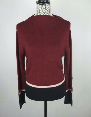 - NEW Cliche' Women's Mode Color Blocked Mock Neck Sweater Burgundy Size L $98