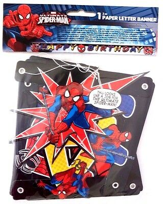 Marvel Ultimate Spider-Man Boy's 2 Meter Birthday Party Paper Letter Banner NWT