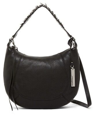 Ring Hobo Handbag Purse Bag - VINCE CAMUTO CAYLE D RING-STRAP HOBO Leather Shoulder Women's Bag NERO