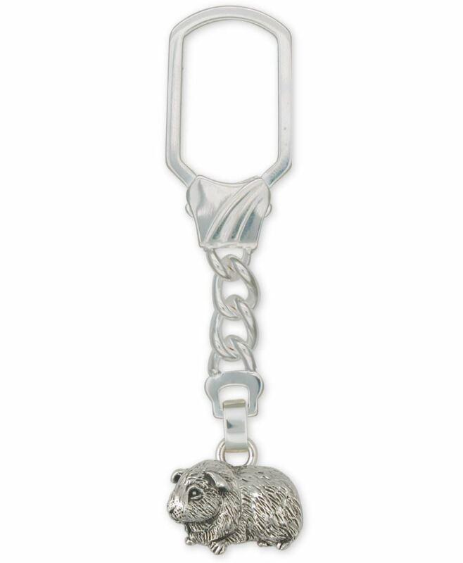 Guinea Pig Key Ring Jewelry Sterling Silver Handmade Piggie Key Ring GP6-KR