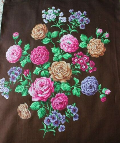 """Antique French Hand Painted Mix Rose Bouquet Textile Design On Fabric~21"""" X W14"""""""