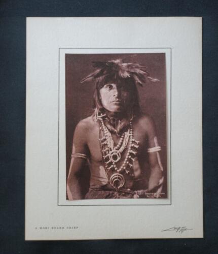 EDWARD S. CURTIS  Photographic Lithograph  MOKI SNAKE PRIEST c. 1904