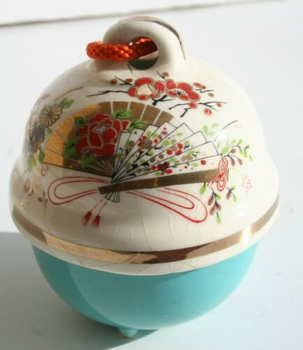 vintage asian pottery hanging bell