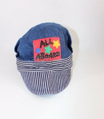 VINTAGE TODDLER BLUE DENIM WITH BLUE & WHITE STRIPE BILL TRAIN ENGINEER HAT - Toddler Engineer Hat