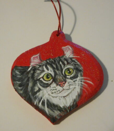 American Curl Gray Tabby Cat Hand Painted Christmas Ornament Decoration