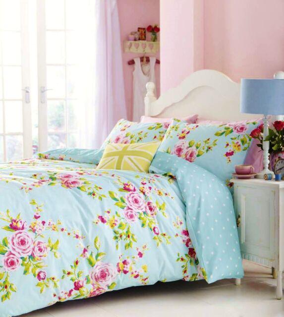 Catherine Lansfield Blue/Pink Canterbury Floral/Polka Dot Duvet Set S/D/K/SK