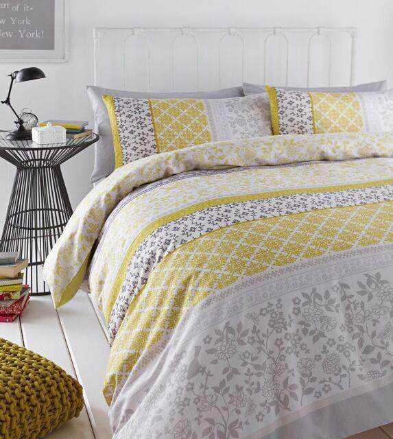 Catherine Lansfield Mustard Yellow/Grey Oriental Birds Cotton Rich Duvet Set