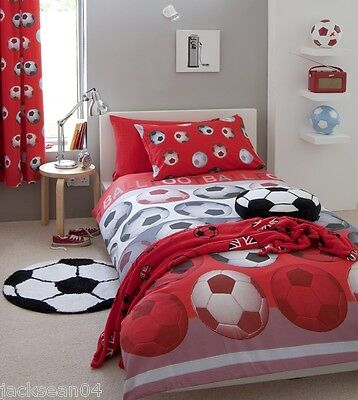 RED FOOTBALL SOCCER COTTON LINED CURTAINS DRAPES 66X72 TO MATCH - Red Football Curtains
