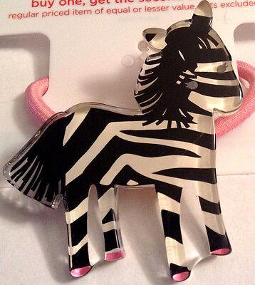 Gymboree NWT Wild One Line Zebra Ponytail Holder Pink/Black/White Girl Cute Wild One Black Zebra