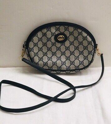 Vintage Authentic Gucci Crossbody Bag Purse GG Monogram Navy Blue & BONUS Too!!!