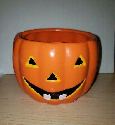 Large PUMPKIN Candy Bowl Ceramic HALLOWEEN Jack O Lantern VINTAGE