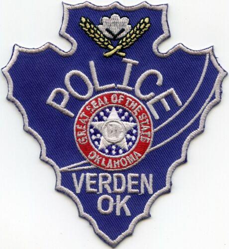 VERDEN OKLAHOMA OK Indian Arrowhead Shaped STYLE #C POLICE PATCH